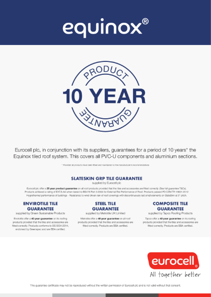 Equinox Tiled Roof 10 Year Product Guarantee Certificate