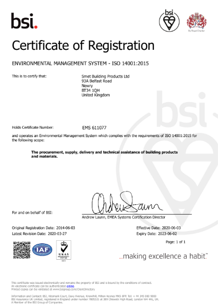 ISO 14001 Smet Building Products Ltd