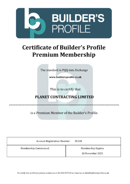 Certificate of Builder's Profile Premium Membership