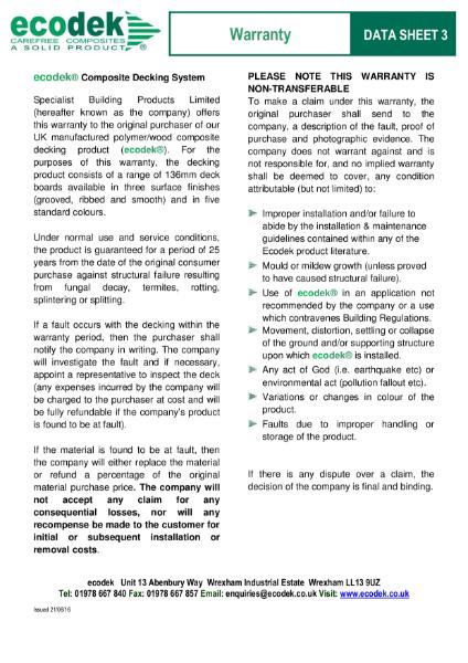 Data Sheet 3 - ecodek® Warranty