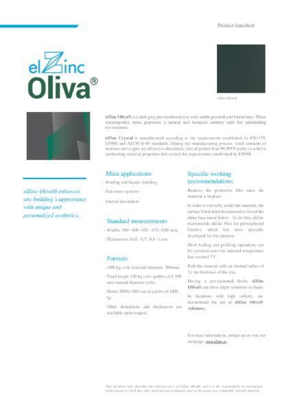 elZinc Olivia Pre-weathered Zinc Datasheet
