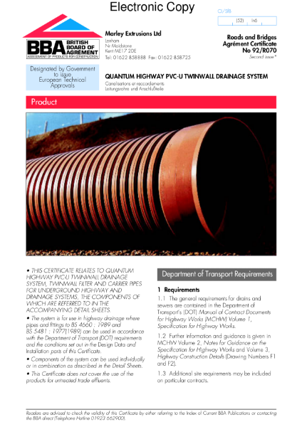 92/R070 Quantum highway PVC-U Twinwall drainage system