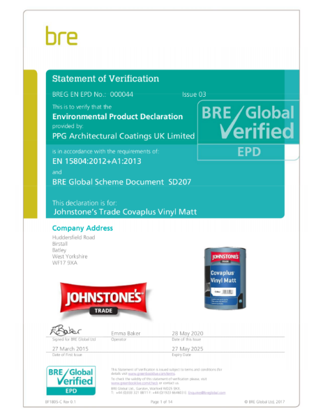 Environmental Product Declaration (EPD): BREG EN EPD No.: 000044