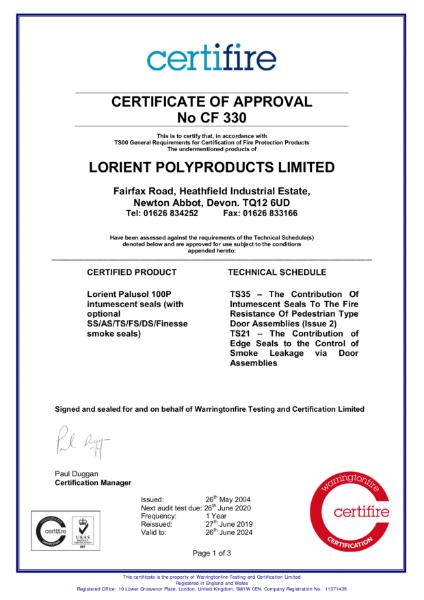 CF330 Certifire Certificate