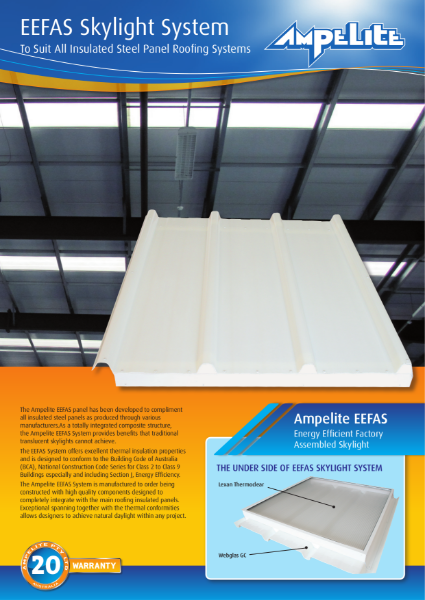 EEFAS Skylight System - suits all insulated steel panel roofing systems