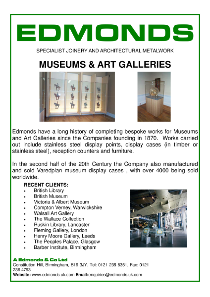 Edmonds Museumsand Art Galleries, Specialist Joinery and Architectural Metalwork