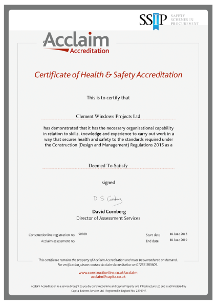 Acclaim Health & Safety Certificate