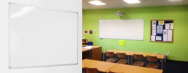 Sundeala Vitreous Enamelled Steel Projection Board - Aluminium Framed with Magnetic Wet-Erase Writing Surface