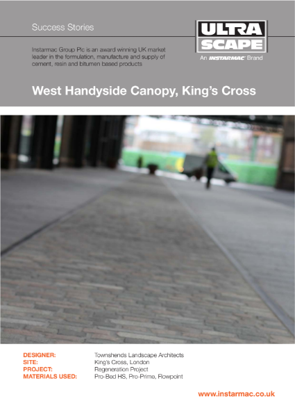 Ultrascape BS 7533 Mortar Paving System used at King's Cross