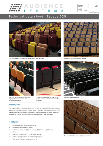 Espace 628 chair: Suitable for retractable, removable, auditorium and theatre seating