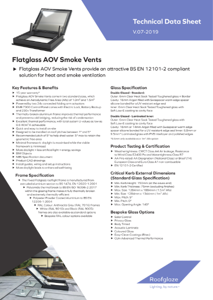 AOV Smoke Vent Flatglass Rooflight