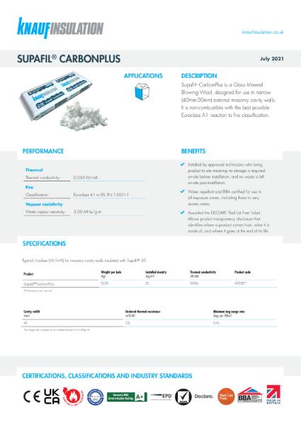 Knauf Insulation Supafil® CarbonPlus Data Sheet
