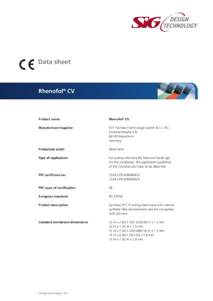 FDT Rhenofol CG PVC Single Ply Roofing Membrane Datasheet