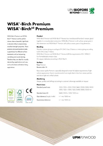 WISA-Birch Premium, WISA-BirchLG Premium