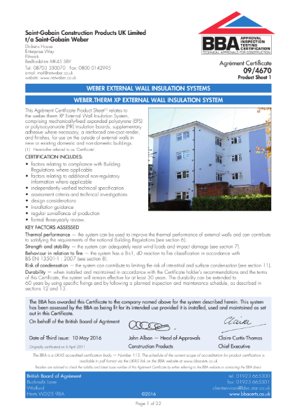 09/4670 Weber.Therm XP External Wall Insulation System (Product Sheet 1)