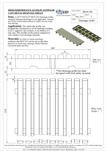Drainage grate / grille AATi type HG9/150 cast metal anti-slip Hyflo Drainage Grill