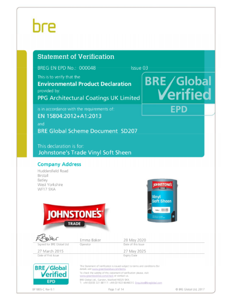 Environmental Product Declaration (EPD): BREG EN EPD 000048 (ECO EPD 000157)