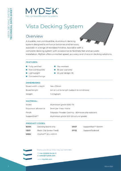 MyDek - Vista Specification -