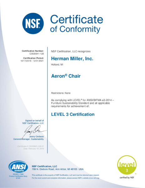 Aeron Chair - BIFMA Level 3 Certificate