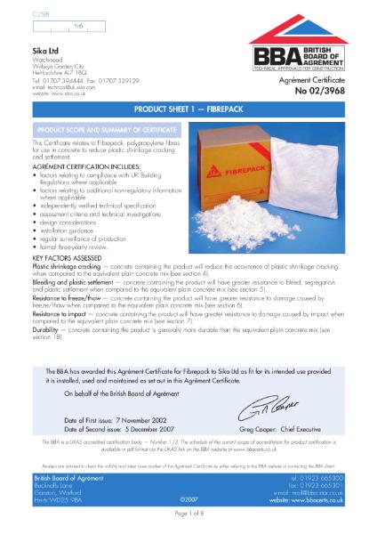 Fibrepack fibre reinforcement for concrete