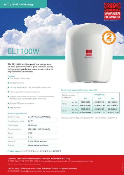 EL1100W Low Energy Hand Dryer