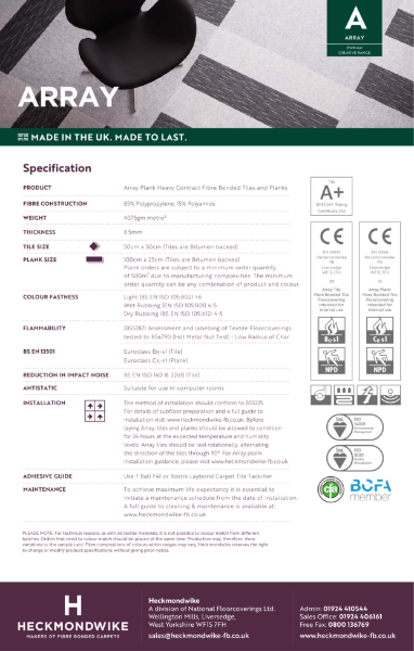 Specification Sheet - Array Commercial Carpet Tiles and Planks