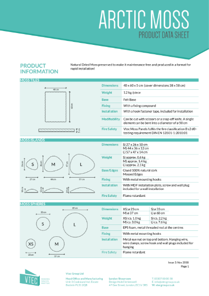 Arctic Moss - Biophilic Design - Data Sheet