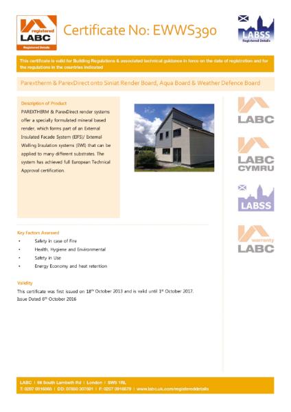LABC Certificate (ParexTherm & ParexDirect onto Siniat Board)