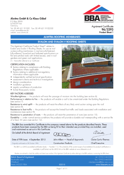Evalon BBA Certificate