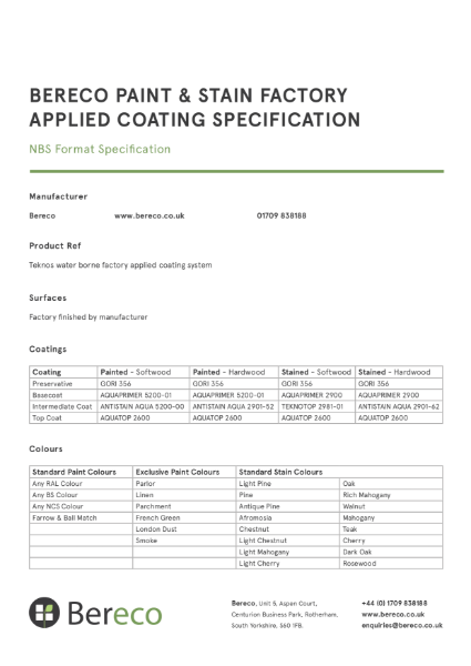 Bereco NBS Specifications Combined