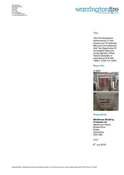 REDSHIELD 130mm Cavity Barrier - WarringtonFire Test Report No 413654