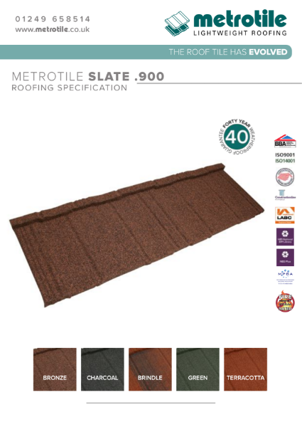 Metrotile Slate .900 Extra Secure Lightweight Steel Roofing System Example Specification