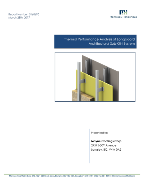 Thermal Performance Analysis of Longboard Architectural Sub-Girt System