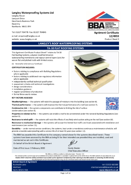 12/4959_9 TA-30 FLAT ROOFING SYSTEMS