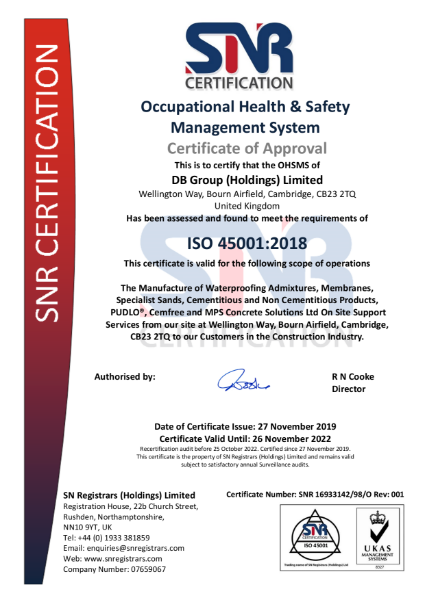 ISO 45001 Certificate DB Group