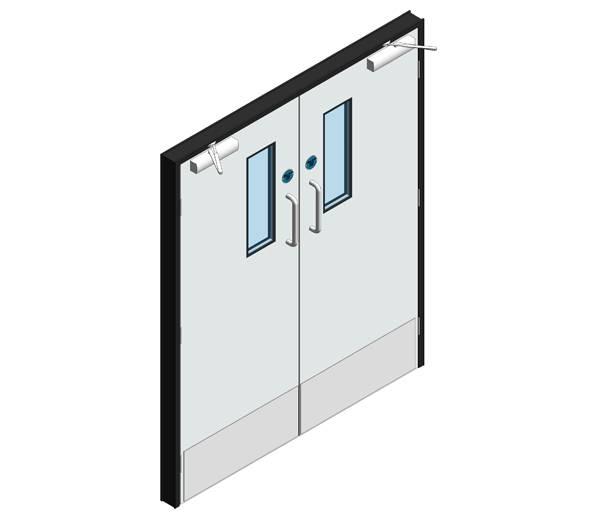 Hygienic Hinged GRP Fire Doors - 60 Min FR - Pair (GRP frame)