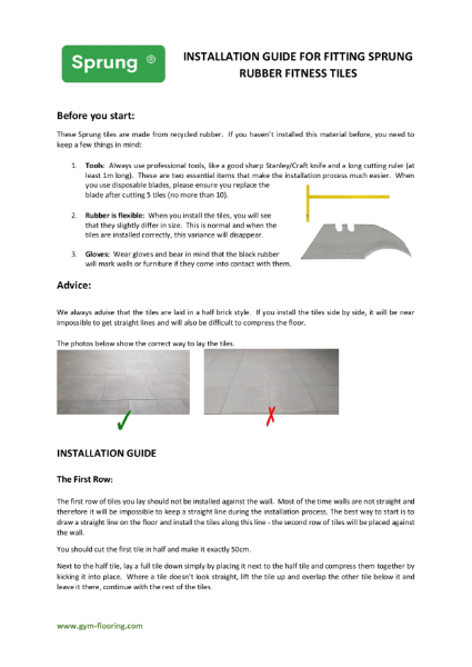 Sprung Rubber Tiles Fitting Guide