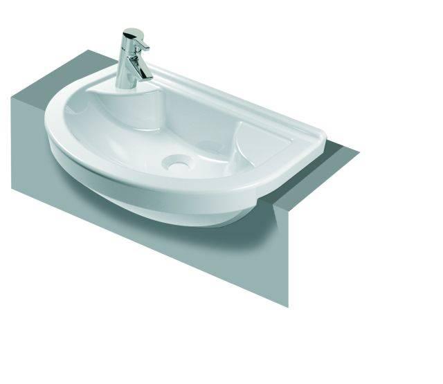 VitrA S50 Compact Semi-recessed Washbasin, 55 cm, Round, 5597