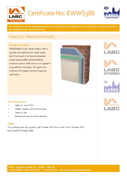 LABC Certificate (ParexTherm Acrylic)