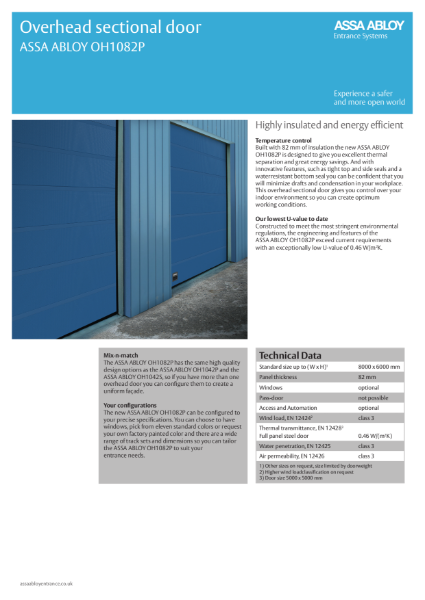 Insulated Overhead Sectional Door - ASSA ABLOY OH1082P