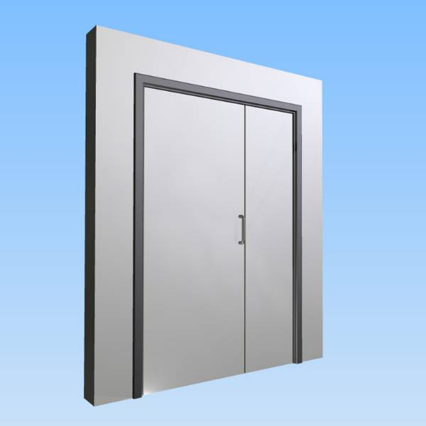 CS Acrovyn® Impact Resistant Doorset - Unequal pair without vision panel