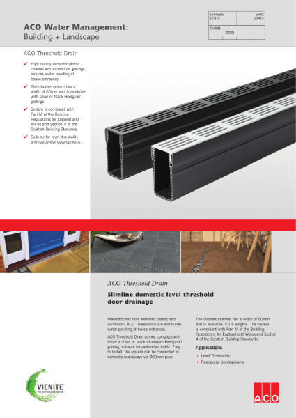 ACO Threshold Drain brochure