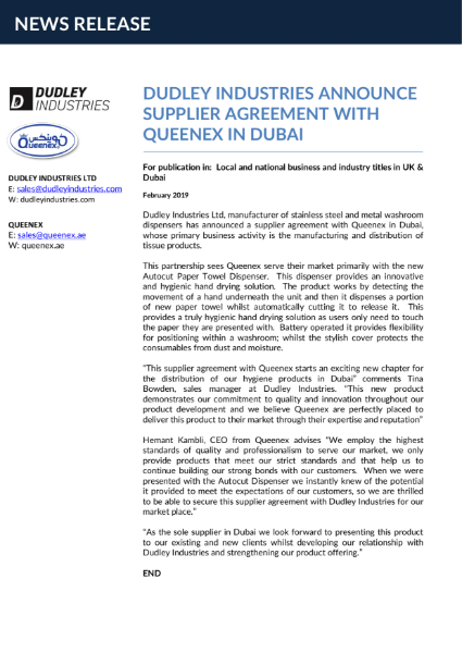 News:  DI announce supplier agreement in Dubai.