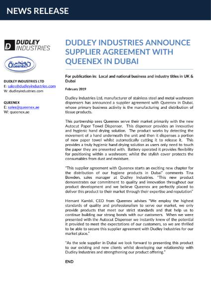 News:  DI announce supplier agreement in Dubai.