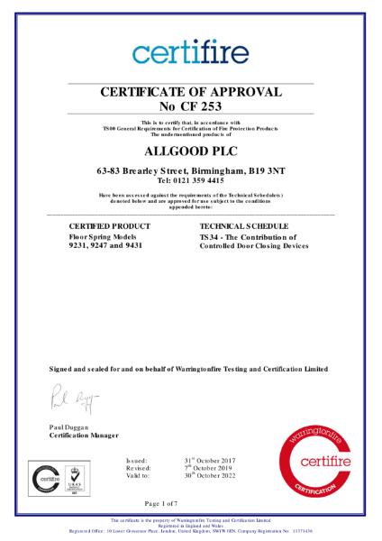 Certifire Certificate CF 253