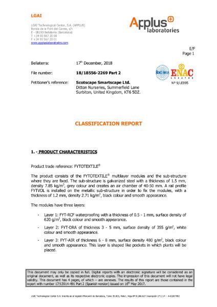 Fytotextile - Classification Report - Flame Retardant