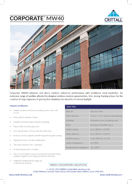 Corporate MW40 Data Sheet