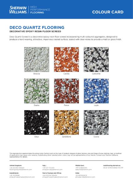 Colour chart - Deco Quartz floor systems