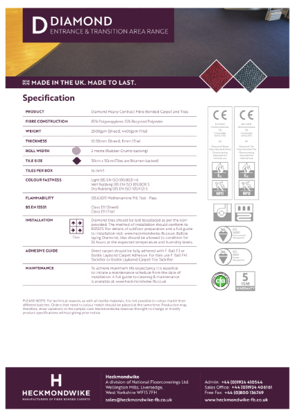 Heckmondwike - Diamond - Specification Sheet