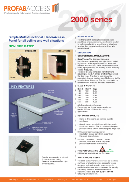 Profab IMAGE 2000 Series Plasti Access Panel